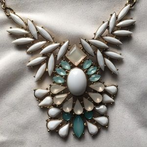 Blue and pink statement necklace